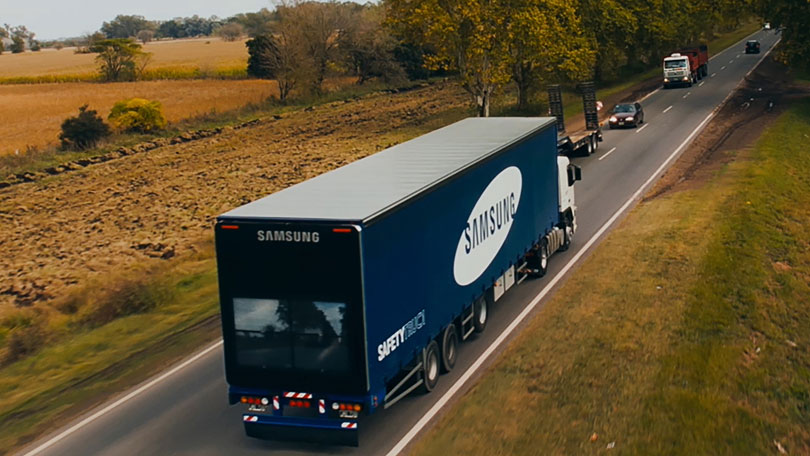Samsung Transparent Safety Truck Begins Road Trials BT - Samsung safety truck shows the road ahead so cars can safely pass