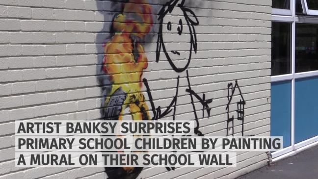 Banksy paints mural at bristol primary school over holidays for Banksy mural painted over